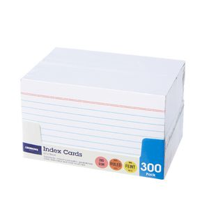 J.Burrows Index Cards Ruled 127 x 76mm White 300 Pack