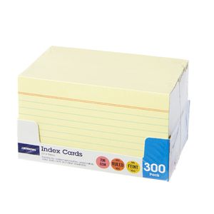 J.Burrows Index Cards Ruled 127 x 76mm Yellow 300 Pack