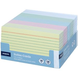 J.Burrows Index Cards Ruled 127 x 76mm Assorted 500 Pack