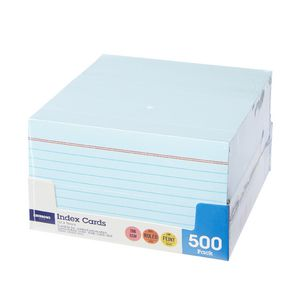 J.Burrows Index Cards Ruled 127 x 76mm Blue 500 Pack