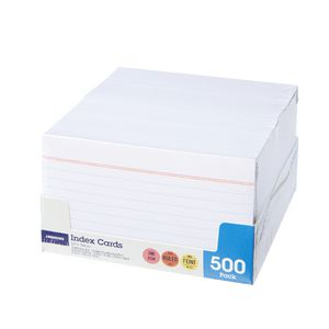 J.Burrows Index Cards Ruled 127 x 76mm White 500 Pack