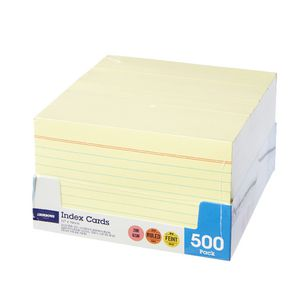 J.Burrows Index Cards Ruled 127 x 76mm Yellow 500 Pack