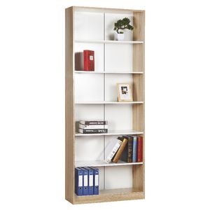 Austin 6 Shelf Bookcase Oak and White