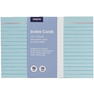 J.Burrows Index Cards Ruled 152 x 102mm Blue 100 Pack