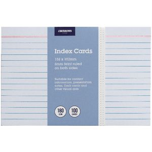 J.Burrows Index Cards Ruled 152 x 102mm White 100 Pack