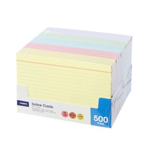 J.Burrows Index Cards Ruled 152 x 102mm Assorted 500 Pack
