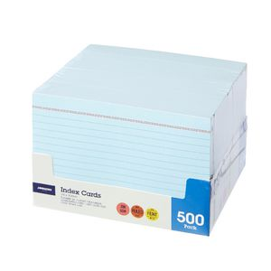J.Burrows Index Cards Ruled 152 x 102mm Blue 500 Pack