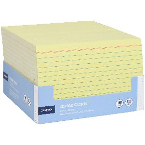 J.Burrows Index Cards Ruled 152 x 102mm Yellow 500 Pack
