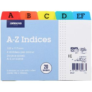 J.Burrows A-Z Index Card Dividers 152 x 102mm