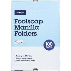J.Burrows Manila Folder Foolscap Buff 100 Pack