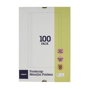 J.Burrows Manilla Folder Foolscap Buff 100 Pack