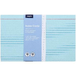 J.Burrows Index Cards Ruled 203 x 127mm Blue 100 Pack