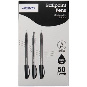 J.Burrows Ballpoint Pens Black Box of 50