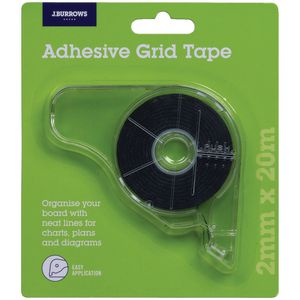 J.Burrows Adhesive Grid Tape Black 2mm x 20m