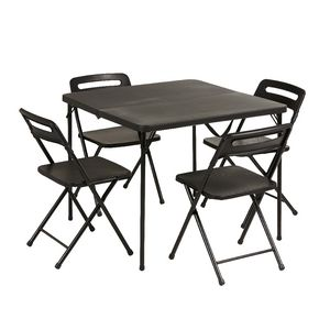 5 Piece Table and Chairs Set Black