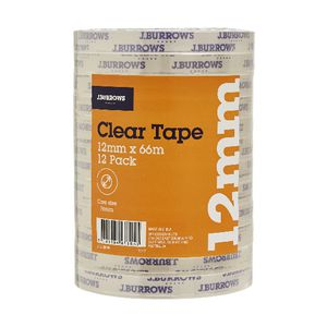 J.Burrows Clear Adhesive Tape 12mm x 66m 12 Pack