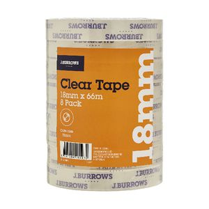 J.Burrows Clear Adhesive Tape 18mm x 66m 8 Pack
