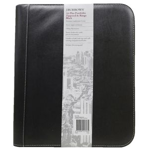 J.Burrows Zippered A4 4 Ring Compendium Black