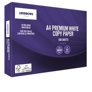 J.Burrows 80gsm Premium A4 Copy Paper 500 Sheet Ream