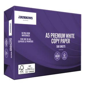 J.Burrows 80gsm Premium A5 Copy Paper 500 Sheet Ream