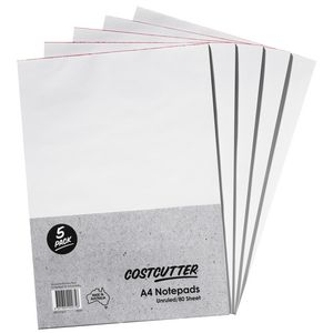 Costcutter A4 Plain Notepad 5 Pack