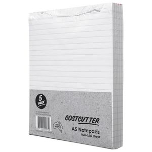 Costcutter A5 Ruled Notepad 5 Pack