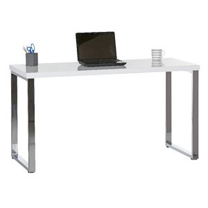 Contour Loop Leg Desk White and Chrome at Officeworks in Campbellfield, VIC | Tuggl