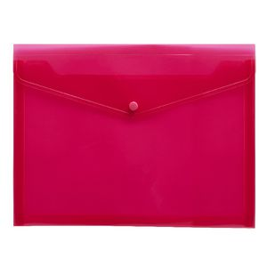 J.Burrows Document Wallet A4 Button Closure Pink