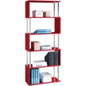 Halcyon Chrome and Gloss Bookcase Red