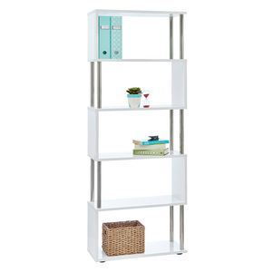 Halcyon Chrome And Gloss Bookcase White