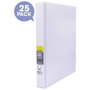 J.Burrows Insert Binder A4 2 D-Ring 25mm White 25 Pack