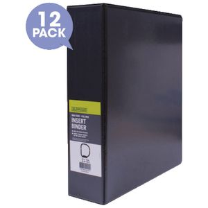 J.Burrows Insert Binder A4 2 D-Ring 50mm Black 12 Pack