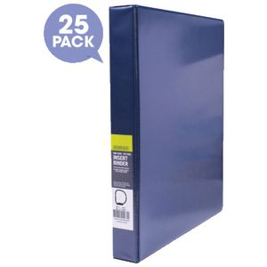 J.Burrows Insert Binder A4 3 D-Ring 25mm Blue 25 Pack