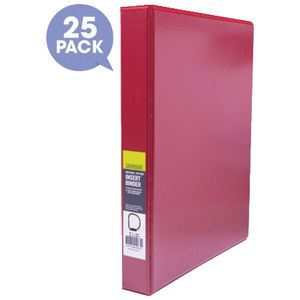 J.Burrows Insert Binder A4 3 D-Ring 25mm Red 25 Pack