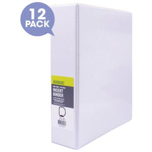 J.Burrows Insert Binder A4 3 D-Ring 50mm White 12 Pack