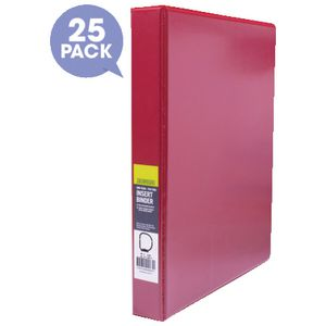 J.Burrows Insert Binder A4 4 D-Ring 25mm Red 25 Pack
