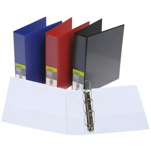 J.Burrows Insert Binder A4 4 D-Ring 50mm Black 12 Pack