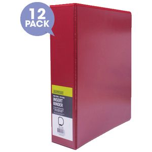 J.Burrows Insert Binder A4 4 D-Ring 50mm Red 12 Pack