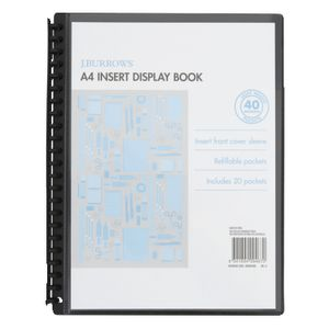 J.Burrows Display Book A4 20 Pocket Insert Cover Black