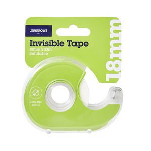 J.Burrows Invisible Adhesive Tape with Dispenser 18mm x 33m