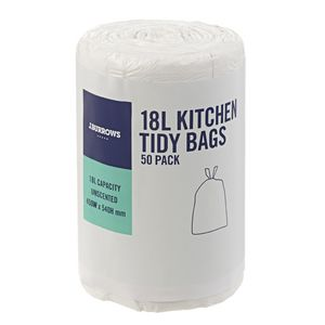 J.Burrows 18L Kitchen Tidy Bags Unscented 50 Pack
