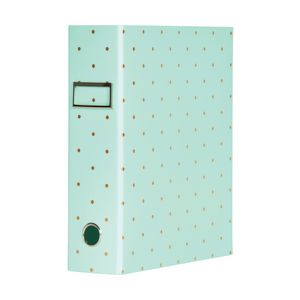Otto A4 Lever Arch File 70mm Foil Teal Polkadot