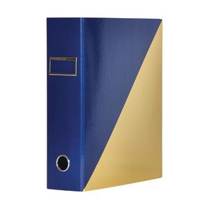 Otto A4 Lever Arch File 70mm Foil Navy/Gold