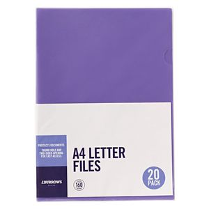 J.Burrows Letter File A4 Purple 20 Pack