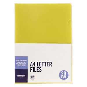 J.Burrows Letter File A4 Yellow 20 Pack