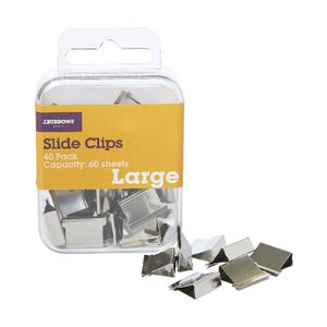 J.Burrows Slide Clips Refills Large Silver 40 Pack
