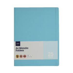 J.Burrows Manila Folder A4 Aqua 25 Pack