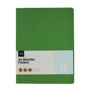 J.Burrows Manila Folder A4 Green 25 Pack