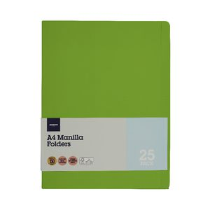 J.Burrows Manila Folder A4 Lime 25 Pack