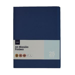 J.Burrows Manila Folder A4 Navy 25 Pack